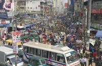 A busy street in Dhaka, Bangladesh.