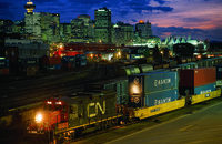 Although international intermodal volume at Canadian National Railroad fell in the second quarter, its domestic intermodal business was up.