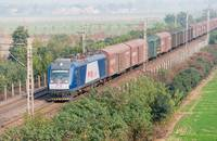 A freight train travels across China.