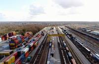 A rail freight yard in France.