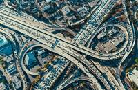 A highway interchange in California, United States.