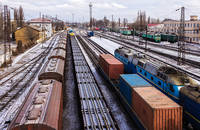 A rail yard in Europe.