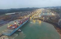 The MOL Benefactor passes through the enlargened Panama Canal on its way to the Port of New York and New Jersey.