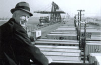 Malcom McLean in Port Newark, the advent of containerization