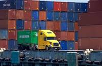 A truck with cargo at the Port of Los Angeles.