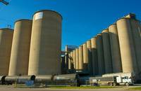 Soybean silos in Kansas, United States.