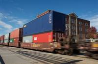 Intermodal freight train, Kansas, United States.