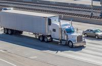 A truck travels in California, United States.