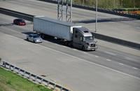 A truck travels in South Dakota, United States.