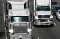 Trucks travel in California, United States.