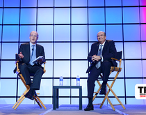 The JOC's Peter Tirschwell (left) talks with maritime industry leader Ron Widdows onstage at TPM.