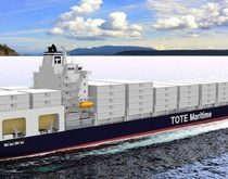 Artist's rendering of one of TOTE's planned LNG-fueled container ships