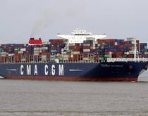 A CMA CGM container ship.