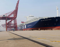 Mega-ships like the CMA CGM Marco Polo, pictured calling at the Port of Ningbo, have had less to haul from China in recent months.