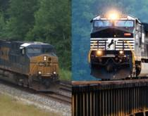 CSX and Norfolk Southern intermodal trains