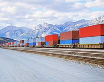 A freight train travels in Canada.