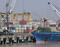 Chittagong port with containers.