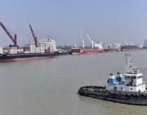 Ships in line at Chittagong Port.