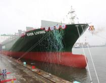 Evergreen Line's new Ever Living, the largest container ship built by China Shipbuilding Corporation.