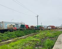 Trucks backed up at JNPT.