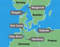 Map showing Port of Hamburg, Kiel Canal, and environs
