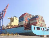 Maersk Salina container ship at the APMT Pipavav terminal.