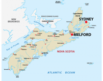 Sydney, Melford, Nova Scotia map