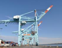 A giant crane awaits a container ship at the Port of New York and New Jersey.