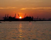 The Port of Virginia at sunset.