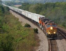 A freight train travels in Illinois, United States.