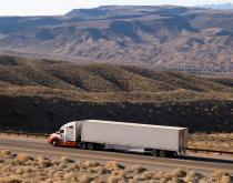 A truck travels in Arizona, United States.