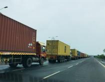 Trucks in a cargo line in India.