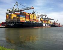 MSC container ship in Rotterdam