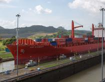 Hamburg Sud container ship transiting Panama Canal