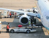 Air cargo being loaded in China.