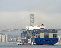 The 18,000-TEU CMA CGM Benjamin Franklin, pictured in San Francisco Bay during a call to the Port of Oakland in February, could be one of the mega-ships the Ocean Alliance plans to deploy to the U.S. West Coast.