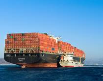 Container ship bunkering.