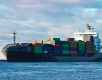 A modern/new-design container ship.