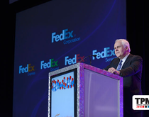 Frederick W. Smith, chairman, president and CEO of FedEx, speaking at the JOC's TPM conference in Long Beach, Calif.