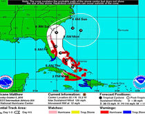 The projected path and strength of Hurricane Matthew through the weekend.