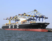 The 13,000-TEU MSC Cristina, pictured at Jawaharlal Nehru Port Trust, is the largest ship to ever call at an Indian port, and the completion of dredging at JNPT will make calls of similar vessels more common.