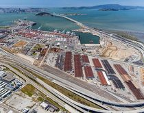 The former Oakland Army Base, pictured, hosts a near-dock rail transfer yard and will soon be a warehousing and transloading logistics center.