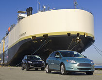 Cars are unloaded from the Jean Anne, the first ship to call the Port of San Francisco's Pier 80 in 2016.