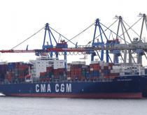 CMA CGM Mozart in Hamburg port