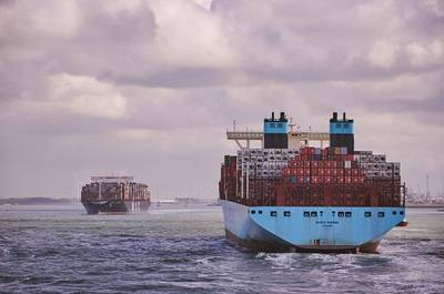 Two container ships near Rotterdam port.