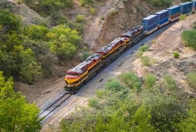 An intermodal train travels in Mexico.
