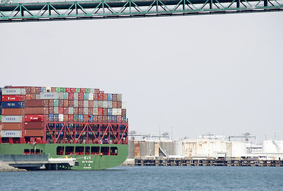 Evergreen container ship, Port of Los Angeles, April 2015