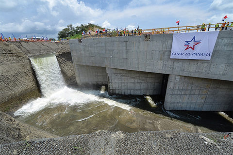 new Panama Canal locks being filled with water