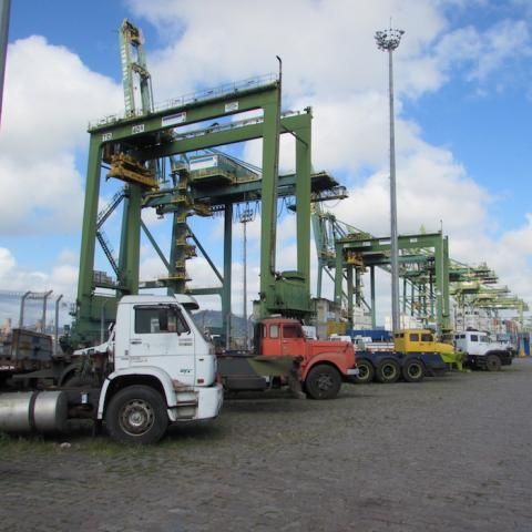 Isle ship-to-shore gantry cranes at port of Santos, Brazil