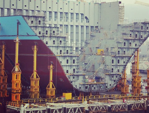 Maersk container ship under construction
